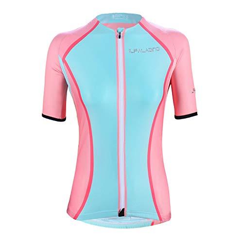 DuShow - Maillot de ciclismo de manga corta para mujer, color rosa