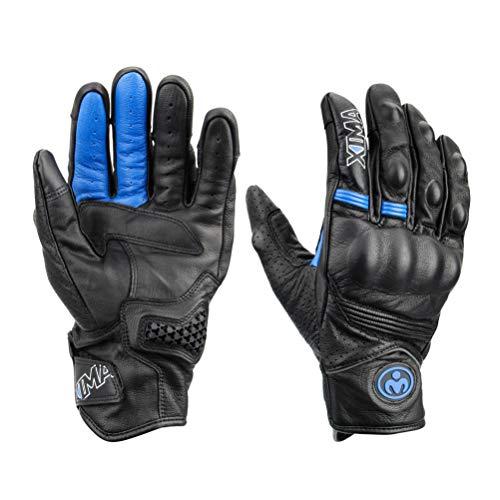 LEXIN Motorrad Handschuhe,Wasserdicht Blau Touchscreen Motorradhandschuhe mit Hardknuckle, Lederhandschuhe für Herren, Motorräder zum Motorradfahren und Outdoorsports L