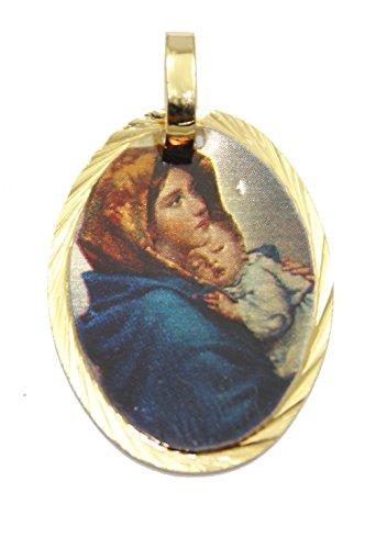 Diamantados of Florida Virgen Maria con Nino Jesús-Virgin Mary Medalla de 14K Chapado en Oro, con 18Pulgadas Cadena
