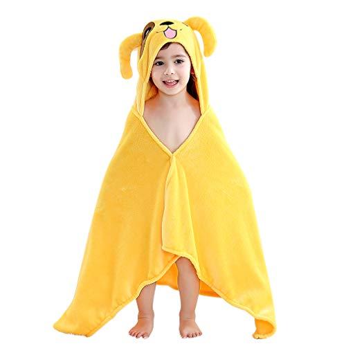 MICHLEY Niños Encapuchado Bebé Toalla de baño, 60 * 120cm Animal Sin mangas terciopelo de coral Albornoz Para Niños Niñas 0-6 Años(Perro amarillo)