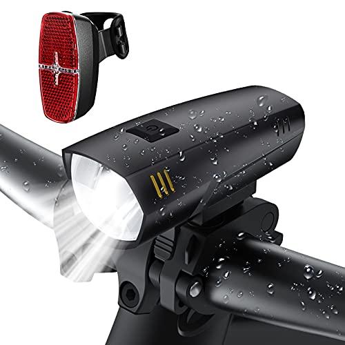 LIFEBEE LED Fahrradlicht Set, LED Fahrradbeleuchtung IPX5 Wasserdicht Frontlicht Rücklicht Fahrradlampe Fahrradlichter , 2 Licht-Modi, Batterie Nicht Inklusive