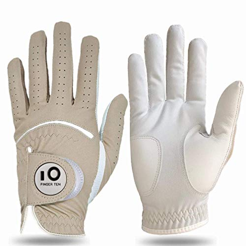 FINGER TEN Golfhandschuh Herren Linke Hand Rechte Leder Cabretta Mit Ball Marker 2 Stück(Not Paar) Allwetter Griff Golf Handschuh Links Rechts Weicher Komfort Passform (Hellbraun-M- Left)