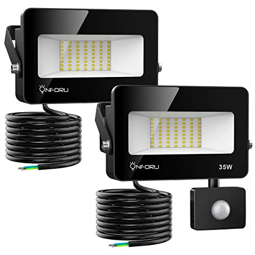 Onforu 2 Pezzi 35W Faretto con Sensore di Movimento, IP66 Impermeabile Faro LED Esterno con Sensore, 3000LM 5000K Bianca Faretti LED per Giardino, Corridoio, Terrazza, Patio