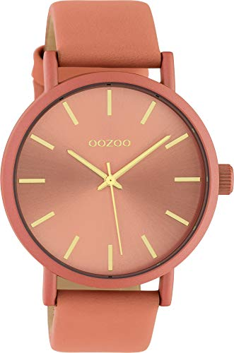 Oozoo Damenuhr mit Lederband 42 MM Colours of Oozoo Unicolor Lachs C10447