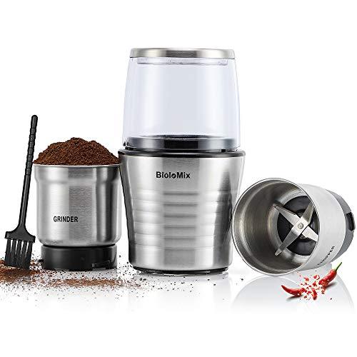 CGOLDENWALL 2 in 1 Elektrische Kaffeemühle Mini Zwiebelschneider mit 2 Abnehmbaren Edelstahlmühlen Elektrisch Zerkleinerer für Chili/Knoblauch/Obst/Gemüse/Fleisch leicht zu waschen