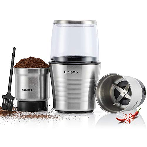 CGOLDENWALL Molinillo de Café Eléctrico Molino & Picadora 2 En 1 para Uso Seco/Húmedo con 2 Vasos Extraible de Acero Inoxidable para Especies, Frijoles, Verduras