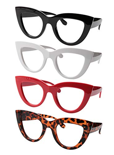 SOOLALA Womens 4 Pairs Value Pack Mixed Colors Cat Eye Reading Glasses, 1.5