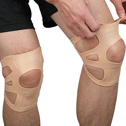 Totonia 2PCS Silicone Invisible Knee Brace,Ultra-Thin Waterproof Patella Brace for Men and Women,for Water Sports, Badminton, Basketball, Jogging etc, to Relieve Knee Pain and Prevent Knee Injuries