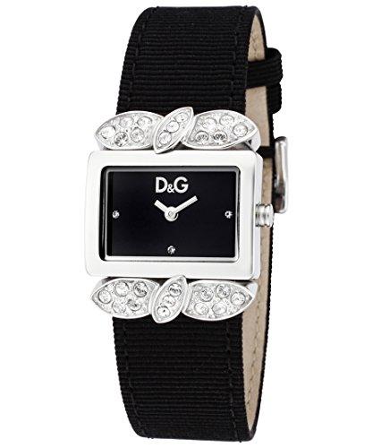 D&G Dolce&Gabbana-Damen-Armbanduhr 800 2H SS END PIECE WITH STONES BLACK DIAL DW0493