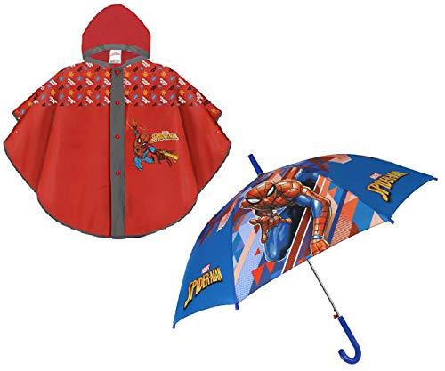 Mantellina Pioggia e Ombrello Automatico SPIDERMAN Poncho Antipioggia 3-6 anni Impermeabile Bambino Bimbo Mantella Uomo Ragno Marvel