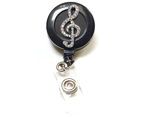 Bling Rhinestone Retractable Badge Reel/ID Badge Holder/Brooch/Pendant/Reels (Music Note Musical Symbol G Clef) Photo #2