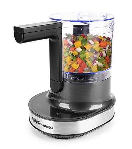 Elite Gourmet EMC4433 Maxi-Matic Patented Electric HoverChop Vegetable Food Prep Processor Chopper, Up/Down Chopping Motion, Emulsify Puree Mince, Touch Screen Controls + Stainless Steel Blades, 4-Cup