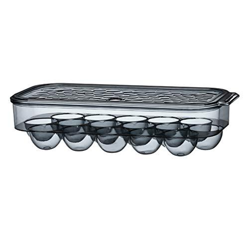 Portauova Frigorifero Contenitore per Uova Frigorifero con Coperchio in Plastica, Senza BPA, Impilabile Trasparente Porta Uova Contenitore per 16 Uova,Frigorifero Casa Accessorio Cucina (nero)