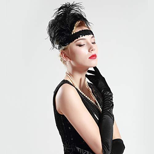 BABEYOND 1920s Stirnband Feder Flapper Stirnband Roaring 20er Showgirl Haarband Gatsby Stil Accessoires Damen Retro Stirnband - 4