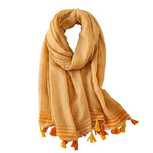 Bufanda amarilla de algodón estilo pashmina