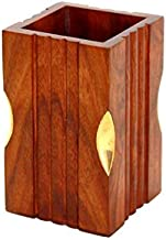 """tecmac New 4"""" Wooden Rosewood Pen Stand With Brass Work (Office Table Accessories)"""