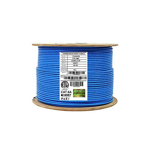 Cat6A Shielded Riser (CMR), 1000ft, FTP 23AWG, Solid Bare Copper, 650MHz, 10Gb Speeds, UL Listed, UL-LP Certification, Higher Performance PoE, Bulk Ethernet Cable Reel, Blue