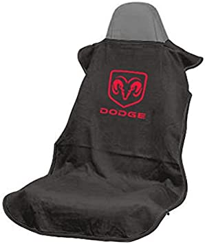 Emblem Covers w// Dodge Logo Pair of New Black Seat Armour Towel Protector