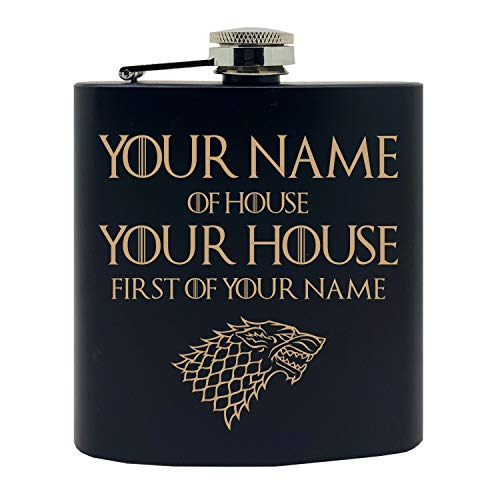 [Personalized]'Your Name of House Your House, First of Your Name' GoT Inpired Design Custom Printed Stainless Steel Alcohol Hip Flask, 6 Oz. Black