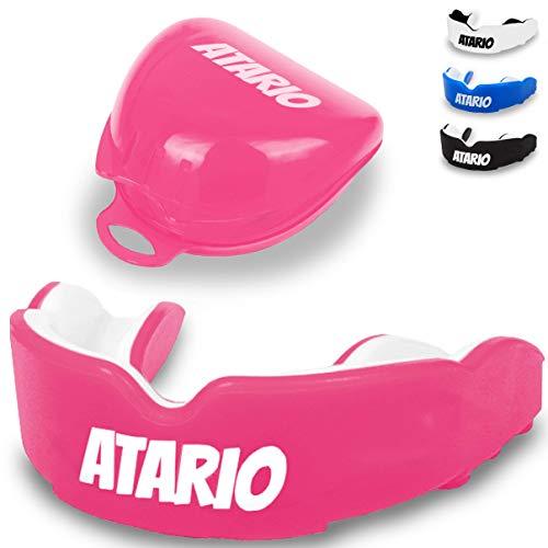ATARIO® Mundschutz mit perfektem Halt [inkl. Transportbox]– Zahnschutz Kampfsport [BPA-frei] für maximale Leistung beim Sport – Mundschutz Boxen, MMA & Football für Erwachsene und Kinder (Pink)