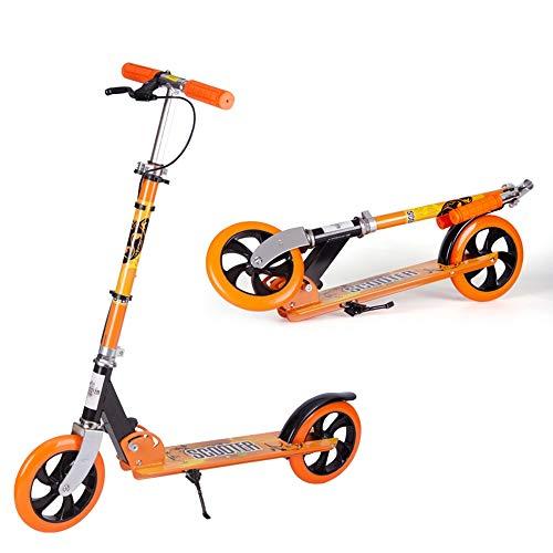 LJHBC Kickscooter Faltbar Erwachsene Tretroller mit Handbremse Pendler-Roller Große Räder Erwachsene/Jugendliche/Kinder Nicht elektrisch Bis zu 100kg (Farbe : Orange)