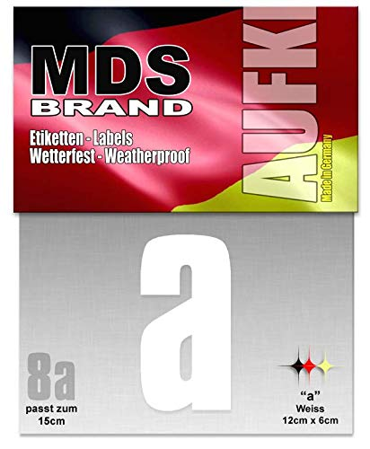 15cm Buchstaben Aufkleber (a-c) Hausnummer Selbstklebend Weiss (A)