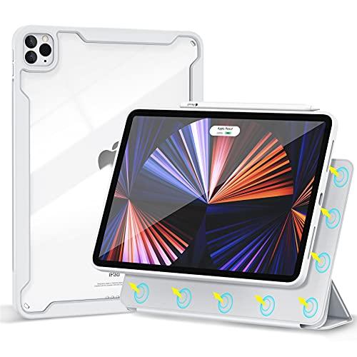 Gahwa Funda Magnética para iPad Pro 11 Pulgadas 2021/2020/2018, Case Cover con Auto-Sueño/Estela, Ultrafina Carcasa Smart Folio Admite Carga Inalámbrica Pencil 2, Cómoda Fijación Magnética - Gris