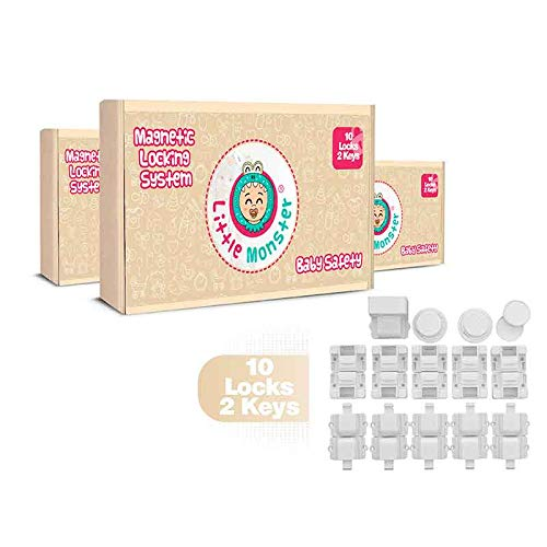 Magnetic Child Safety Cabinet Locks (10locks + 2 keys) - Best Baby Proofing Kit / 3M Adhesive Tape - Easy Installation With No Screws Needed   Perfect For Kitchens And Drawers