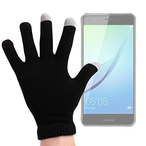 DURAGADGET Guantes Negros para Pantalla Táctil para Smartphone Huawei Nova (y Plus) | Nexus 6P | LG V20 | Medion E5005 | X5520 - ¡Ideales para El Invierno! - Talla Mediana