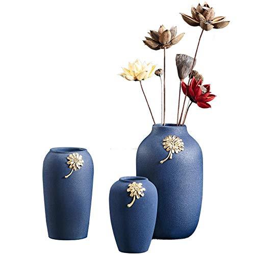 TELMU Vase Ornamente Blumen Asia Style Light Keramik Handzeichnung