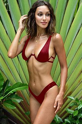 ShSnnwrl Bikini Conjunto de Bikini Negro sólido para Mujer, Ropa de Playa al Aire Libre a la Moda, Bikini Sexy, Traje de baño de Tela de NAI