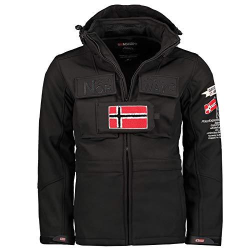 Geographical Norway TARGET - Chaqueta Softshell impermeable para hombre - Chaqueta con capucha para exteriores - Táctica de invierno a prueba de viento - Actividades ideales al aire libre (NEGRO L)