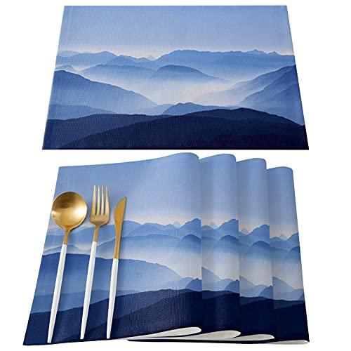 Hokdny Manteles Individuales Tapetes para Mesa De Comedor Cocina,Picos De Montaña Rodeados De Niebla Manteles Individuales Manteles Individuales Antideslizantes A Prueba De Calor