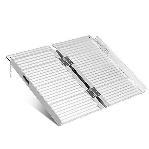 ORFORD Non Skid Foldable Wheelchair Ramp 2ft, 800 lbs Weight Capacity, Utility Mobility Access Threshold Ramp, Portable Aluminum Foldable Wheelchair Ramp, for Home Steps Stairs Doorways Scooter