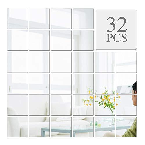 VINFUTUR 32pz Specchio Adesivo da Parete Wall Stickers Specchio Quadrato Decorazione DIY Specchi Adesivo Decorative per Parete Muro Casa Armadio Piastrelle da Bagno