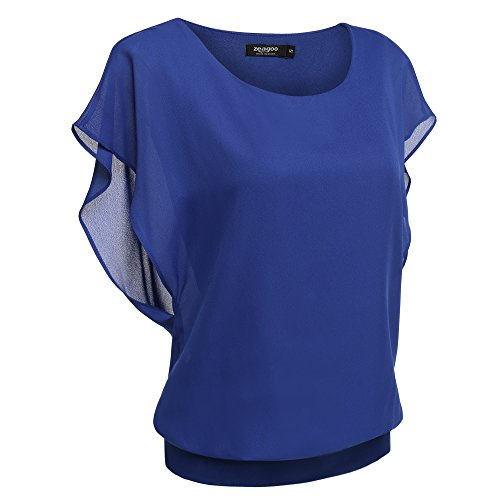 Zeagoo Women's Loose Casual Short Sleeve Chiffon Top T-Shirt Blouse (Medium, Blue)