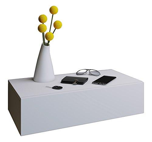 VCM Blado Maxi Wandregal/Wandschrank/Wandschublade mit schublade Nachttisch, Holzdekor, Weiß, 15 x 60 x 31.5 cm