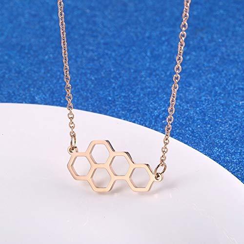 Burenqi Goud Natuurlijke Honingraat Ketting Vrouwen Geometrische Honing Bijenkorf Hanger Zeshoek Ketting Sieraden Beste Bijenkorf