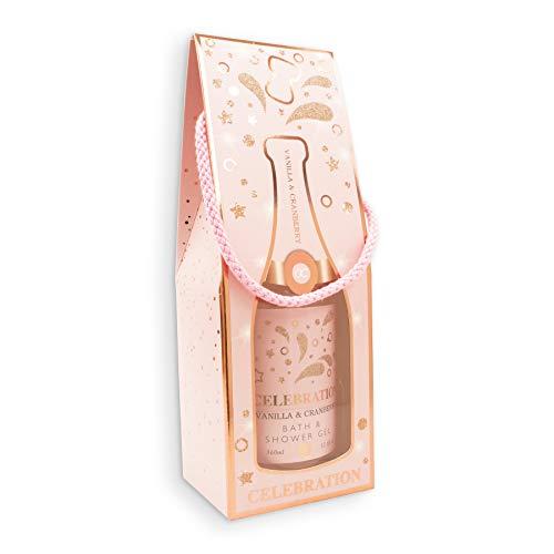 Accentra Duschgel Celebration in der Champagner-Flasche - Dusch-Seife Sekt-Flasche - Geschenkidee für Frauen und Männer - 360ml Badezusatz mit Kordel als Geschenktüte Farbe Rosa