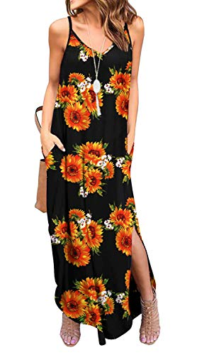 GRECERELLE Women's Summer Casual Loose Dress Spaghetti Strap Beach Cover Up Long Cami Floral Print Casual Maxi Dresses with Pocket FP Sun Black-X-Large