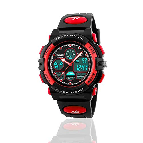 Learning Toys for 6 Year Old Boys - Gifts for 5-12 Year Old Girls, Treasure Store Sports Waterproof Digital Watches Analog Smart Boy Watches Ages 3-11 Toys for 3-12 Year Old Boys Girls Red