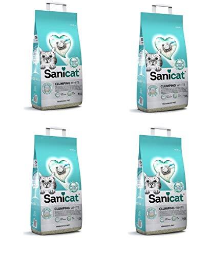 Sanicat 4 Sacchi 40L Active Clumping White Lettiera Sabbia Bianca Agglomerante Profumata per Gatti