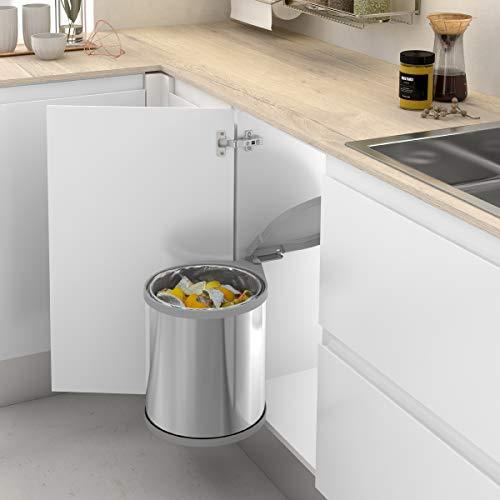 Cubo de basura redondo y giratorio con apertura automática para armario de cocina   Capacidad 13L   Acero Inoxidable