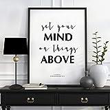 Versos de la Biblia imprimibles Set Your Mind On Things Above Scripture Print Colosenss 32 versos bíblicos citas de la Biblia Arte mural, Citas de la Biblia