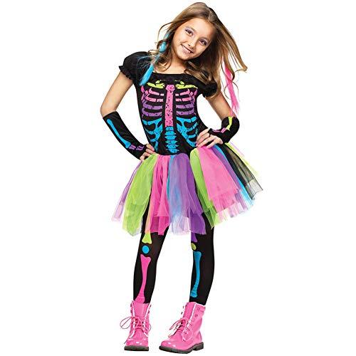 DPSLYXCD Disfraz De Halloween para NiñAs - Disfraz De Calavera EsqueléTica para...