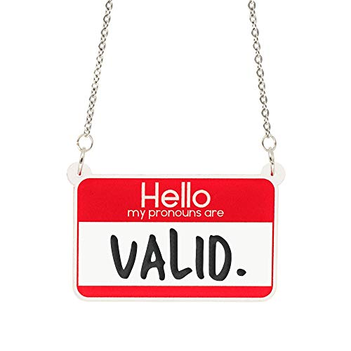 Hello My Pronouns Are Valid acrylic necklace