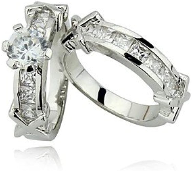 GaoRuiRuiL Wedding Engagement Rings Set Womens Rings Fashion Shining Silver AAA Ring Set