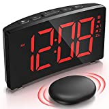 Wireless Bed Shaker Alarm Clock for Heavy Sleepers, Shaking or Sound Mode, 3 Alarm Sound, Clear Red Display with 6 Dimmer, Digital Alarm Clock for Bedrooms for Kids Deaf Hard of Hearing