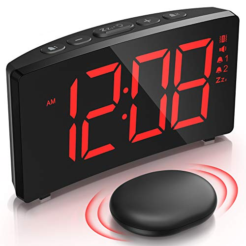 Alarm Clock with Wireless Bed Shaker, Vibrating Digital Clock for Heavy Sleepers, Dual Alarm Clock with Adjustable Volume and Dimmer, Snooze, Easy Set Bedroom Clock for Kids Deaf Hard of Hearing