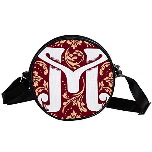 Bennigiry Monogramm M runde Umhängetasche, Clutch, Handtasche für Teenager, Mädchen und Frauen